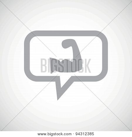 Muscular arm grey message icon