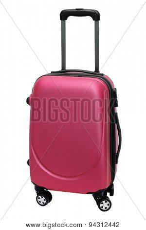 Red Travel Bag with Wheels Standing on White Background