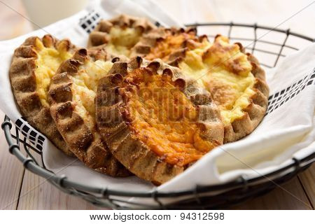 Karelian pasties with potato, carrot, and rice
