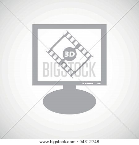 3D movie grey monitor icon