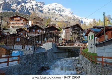 Leukerbad village, canton of Valais in Switzerland.
