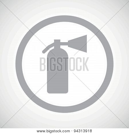 Grey fire extinguisher sign icon