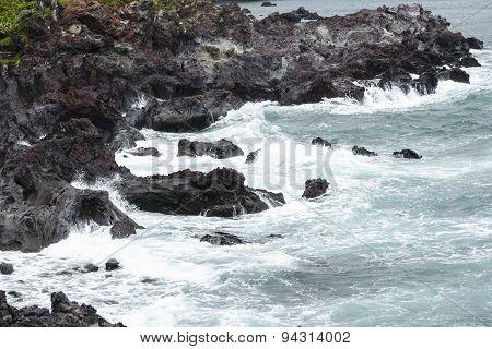 Volcanic Rocks  At A Coast Of Jeju Island.