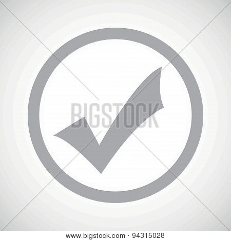 Grey tick mark sign icon