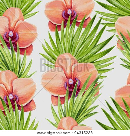 Watercolor orchid flower and palm leaves seamless pattern. Vector illustration.
