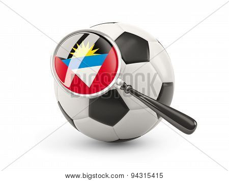 Football With Magnified Flag Of Antigua And Barbuda