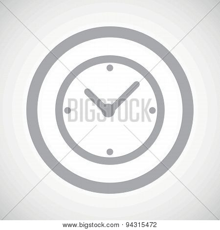 Grey clock sign icon