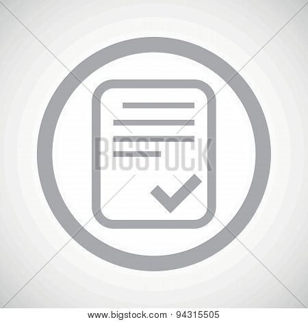 Grey approved document sign icon