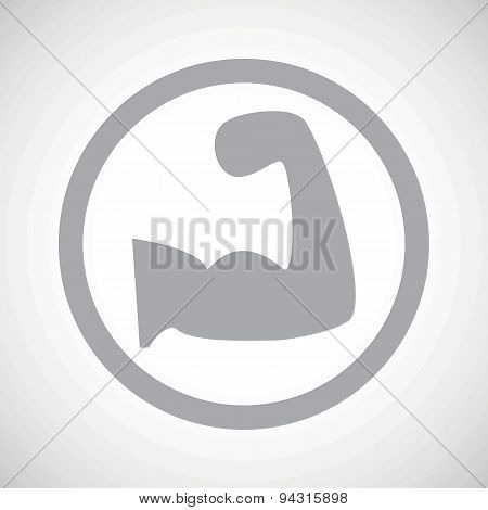 Grey muscular arm sign icon