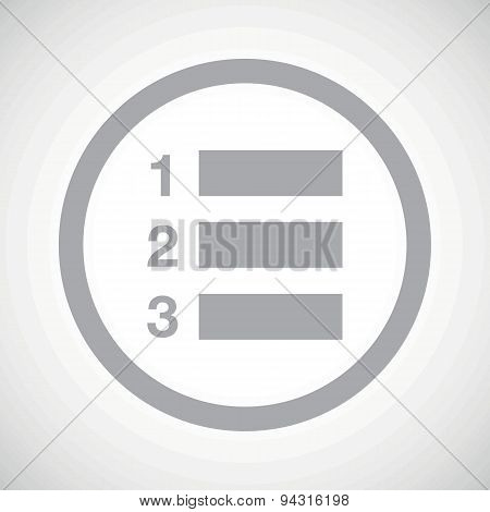Grey numbered list sign icon