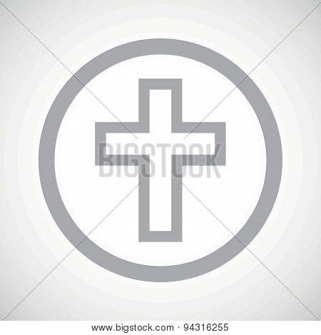 Grey christian cross sign icon