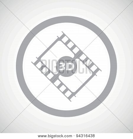 Grey 3D movie sign icon