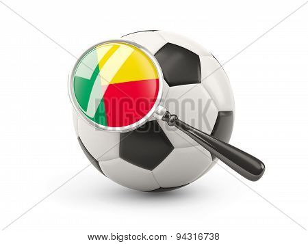 Football With Magnified Flag Of Benin
