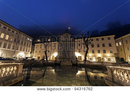 Kapitelplatz And Hohensalzburg Castle At Sunrise