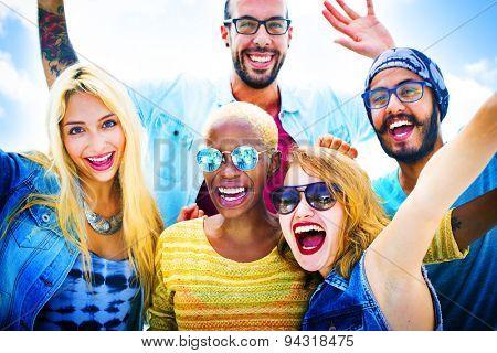 Diverse Beach Summer Friends Bonding Concept