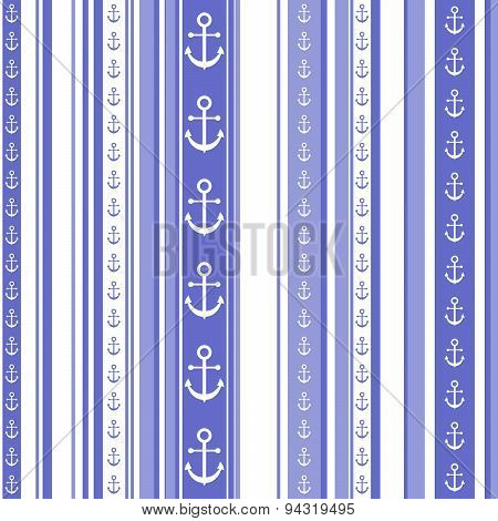 Seamless Striped Pattern With Anchor Motif