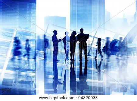 Silhouette People Discussion Meeting Cityscape Team Concept