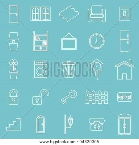 House Related Line Icons On Blue Background