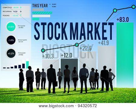 Stock Market Graph Growth Improvement Concept
