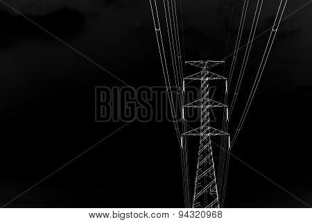 Black And White High Voltage Transmission Towers