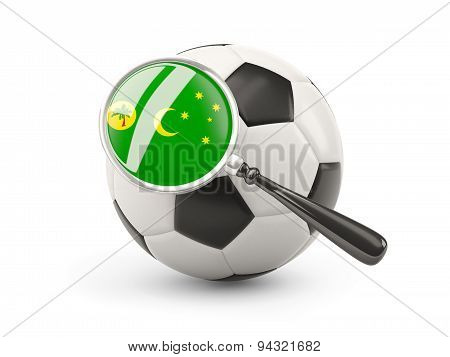 Football With Magnified Flag Of Cocos Islands