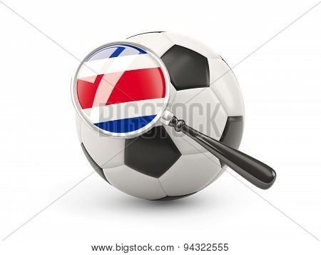 Football With Magnified Flag Of Costa Rica