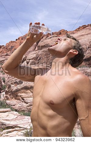 Thirsty Hiker In Desert