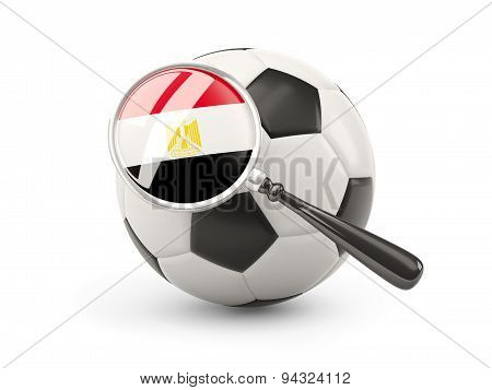 Football With Magnified Flag Of Egypt
