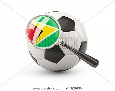 Football With Magnified Flag Of Guyana