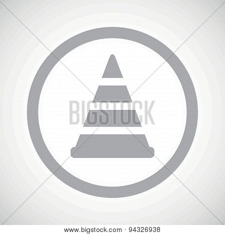 Grey traffic cone sign icon