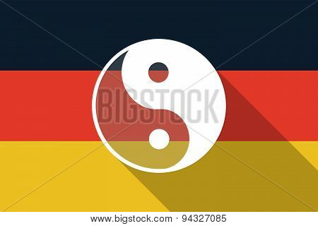Germany  Long Shadow Flag With A Ying Yang
