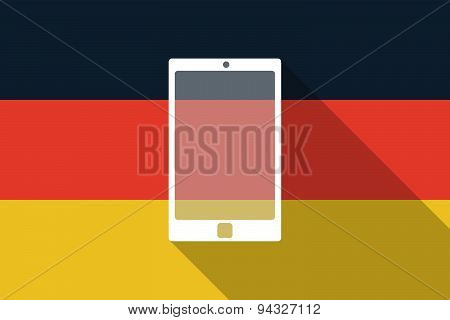 Germany  Long Shadow Flag With A Smart Phone