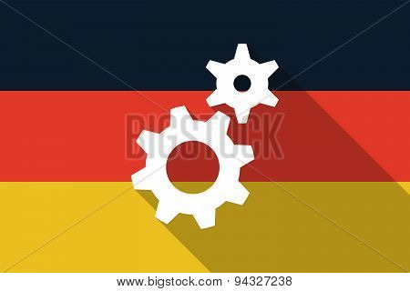 Germany Long Shadow Flag With Gears