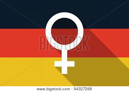 Germany  Long Shadow Flag With A Female Sign