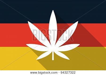 Germany Long Shadow Flag With A Marijuana Leaf