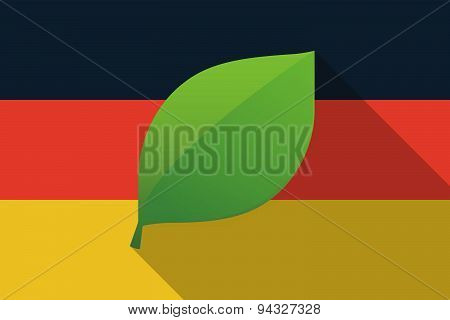 Germany  Long Shadow Flag With A Leaf