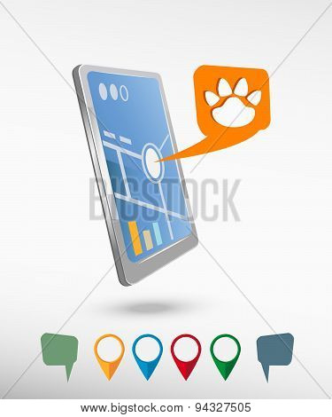 Paw, Web Icon And Perspective Smartphone Vector Realistic