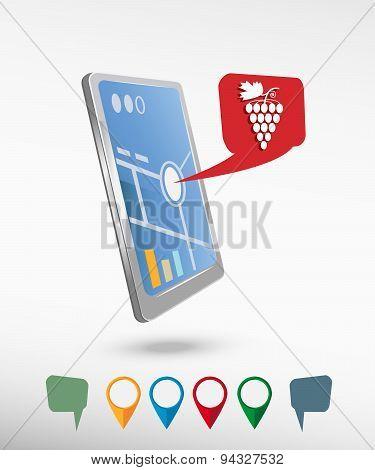 Grape Icon And Perspective Smartphone Vector Realistic