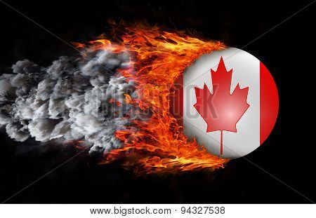 Flag With A Trail Of Fire And Smoke - Canada