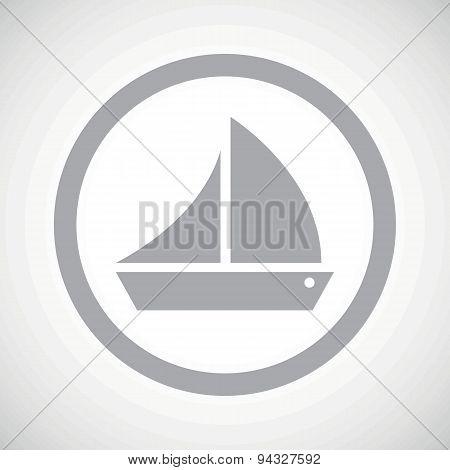 Grey sailing ship sign icon