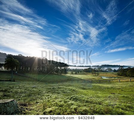 countryside with interesting clouds formation