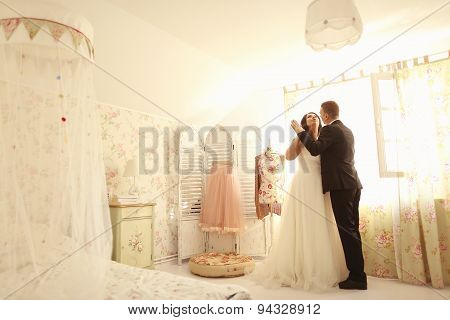 Bride And Groom In A Beautiful House