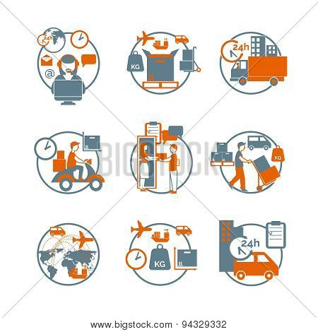 Logistic circle grey orange icons set