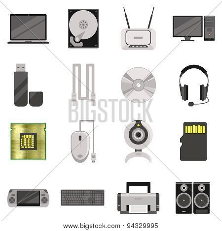Computer Components And Accessories Icon Set