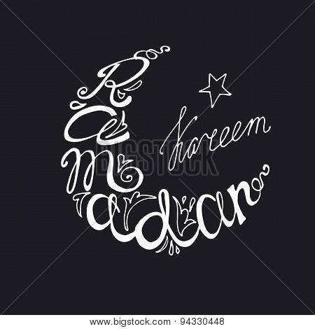 Ramadan Kareem doodle lettering in moon linear silhouette