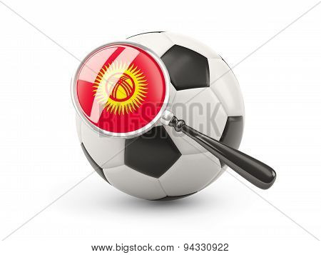 Football With Magnified Flag Of Kyrgyzstan