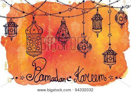 Lantern garland of Ramadan Kareem.Doodle.Watercolor orange splas