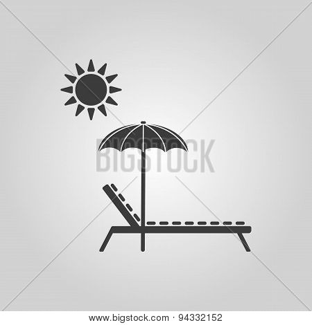 The Lounger Icon. Sunbed Symbol. Flat