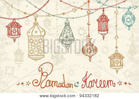 Lantern garland of Ramadan Kareem.Doodle card