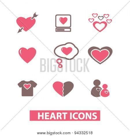 heart, love isolated icons, signs, illustrations, vector for internet, website, mobile application on white background